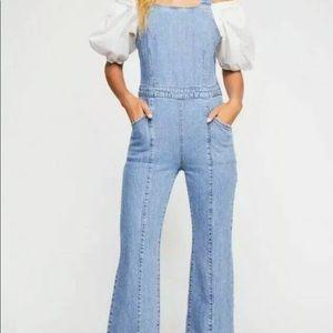 We the free aurora jean overalls jumpsuit denim